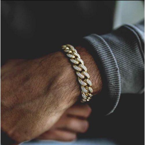 10mm 18K Gold Iced Cuban Link Bracelet-Harlex-Harlex