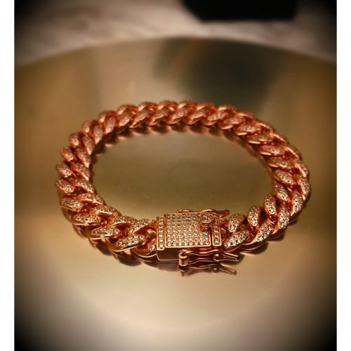 10mm Rose Gold Iced Cuban Link Bracelet-Harlex-Harlex