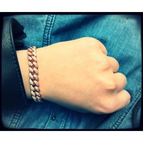 10mm rose gold iced cuban link bracelet harlex gold 7