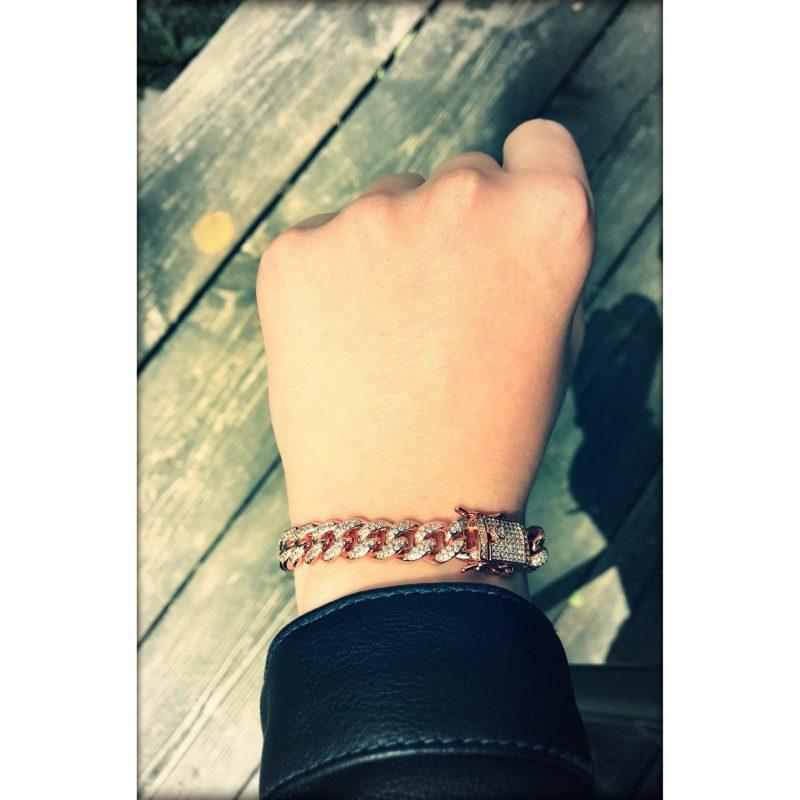 10mm Rose Gold Iced Cuban Link Bracelet-Harlex-Harlex