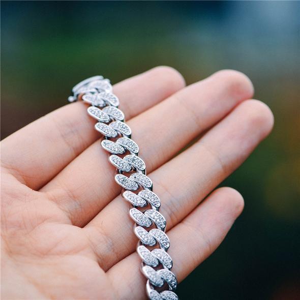 10mm White Gold Iced Cuban Link Bracelet-Harlex-Harlex