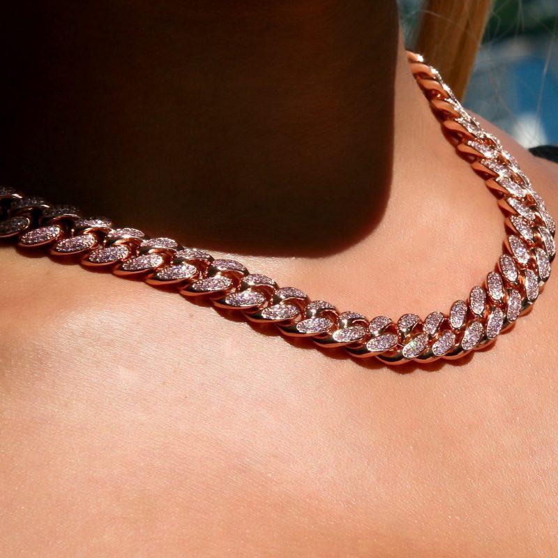 Diamond Cuban Link Choker (10mm) in Rose Gold 1