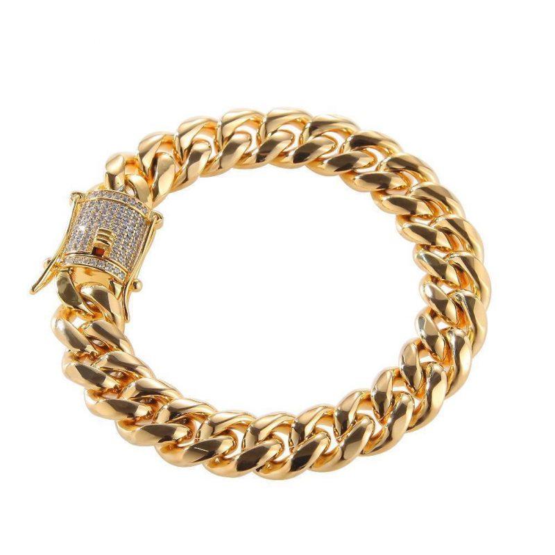 12mm 14K Gold Miami Cuban Bracelet-Harlex-Harlex