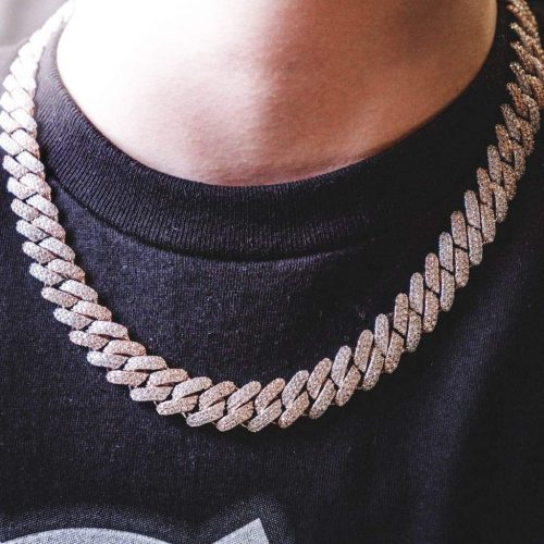 12mm 2 tone diamond prong cuban chain 6 ice 233