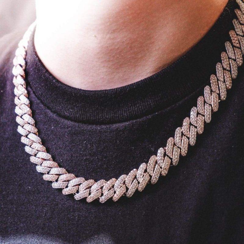 12mm 2 tone diamond prong cuban chain 6 ice 571