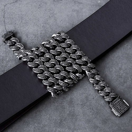 12mm Black Iced Cuban Link Chain 11