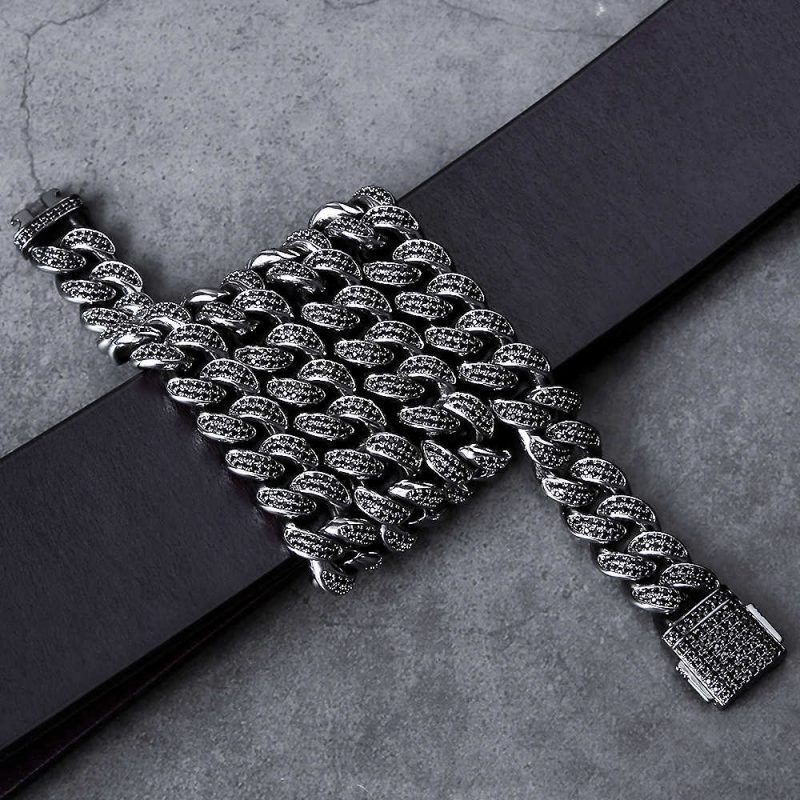 12mm Black Iced Cuban Link Chain 4