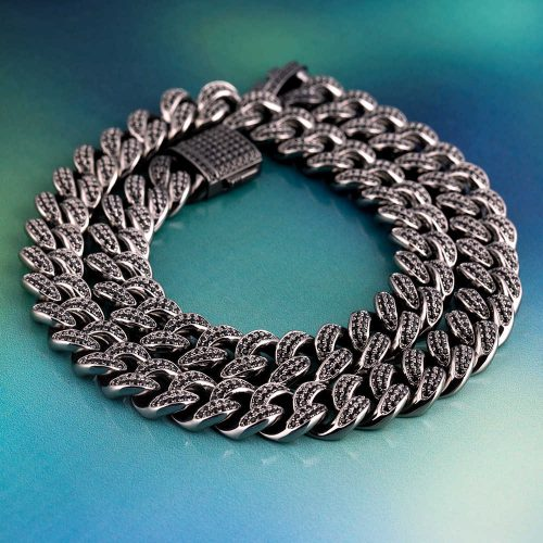 12mm Black Iced Cuban Link Chain 13