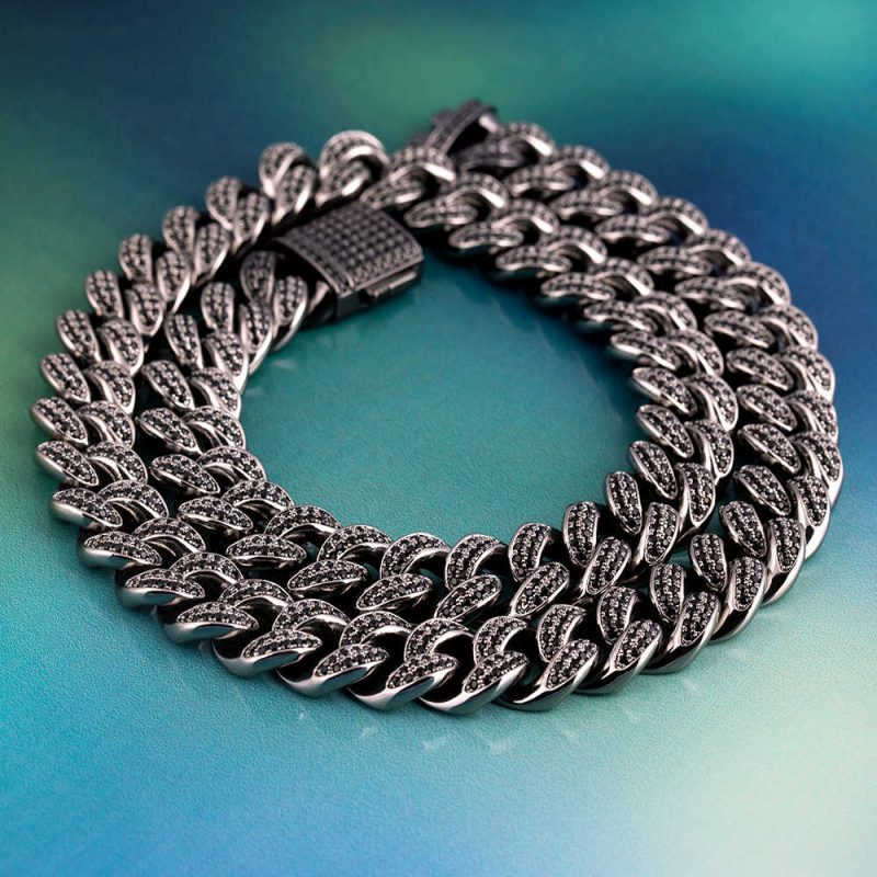 12mm Black Iced Cuban Link Chain 6
