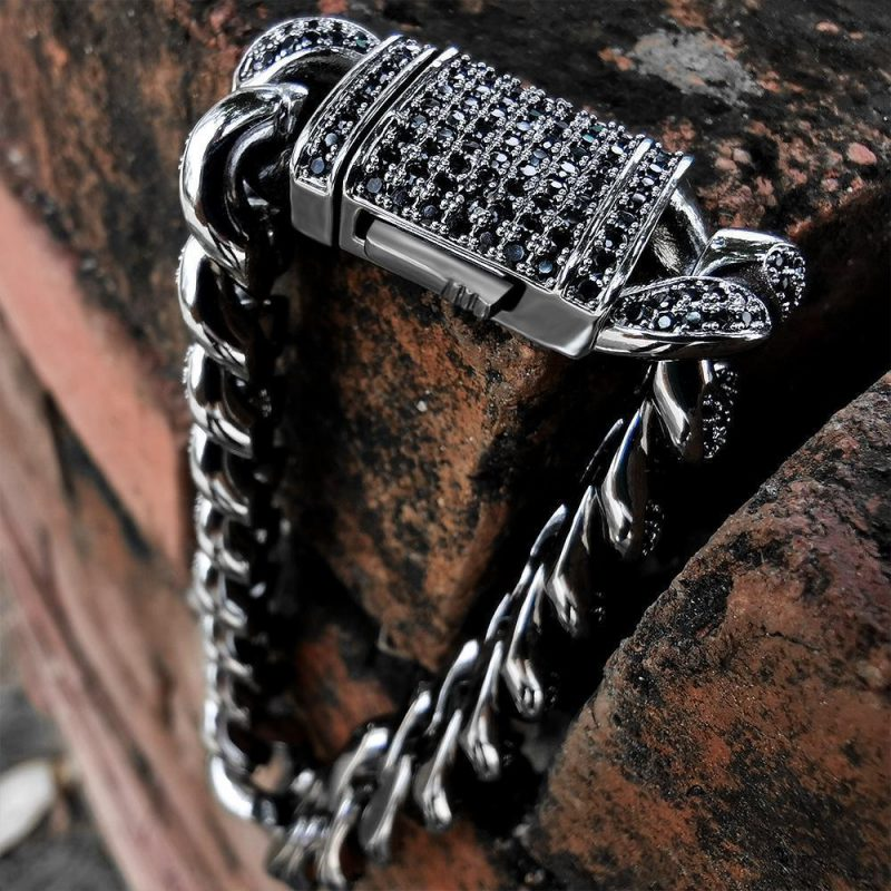 12mm Black Iced Cuban Link Bracelet-Harlex-Harlex