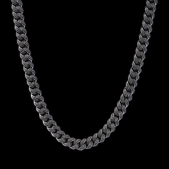 12mm Cuban Link Chain in Black Gold - 18k