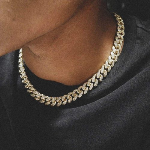 12mm diamond cuban chain in 18k gold choker 6ix ice 6 913