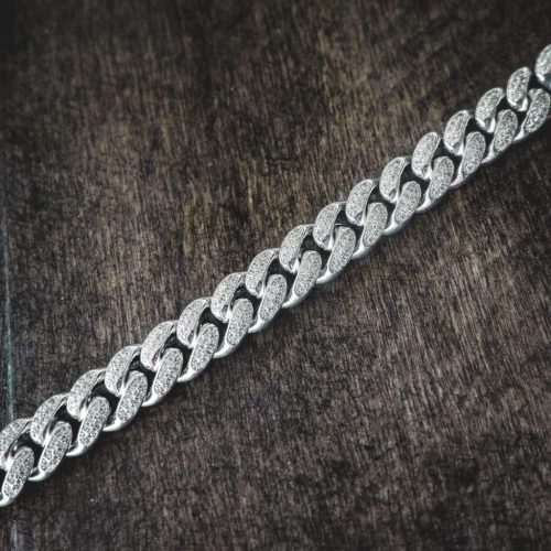 Diamond Cuban Link Chain Choker in White Gold (12mm) 11