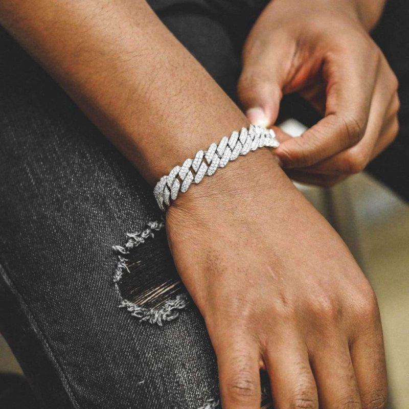 Diamond Prong Cuban Bracelet in White Gold (12mm) 2