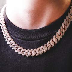 Diamond Prong Cuban Chain - Rose Gold (12mm) 2