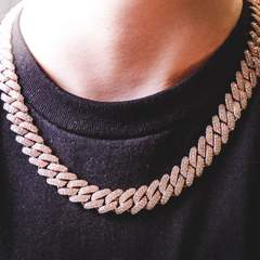 Diamond Prong Cuban Chain - Rose Gold (12mm) 1