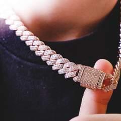 Diamond Prong Cuban Chain - Rose Gold (12mm) 3