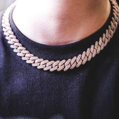 Diamond Prong Cuban Chain - Rose Gold (12mm) 5