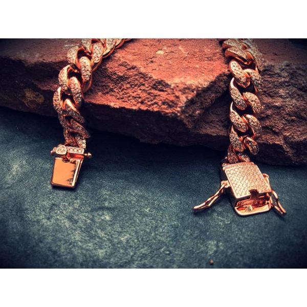 12mm Iced Cuban Link Bracelet in Rose Gold 5