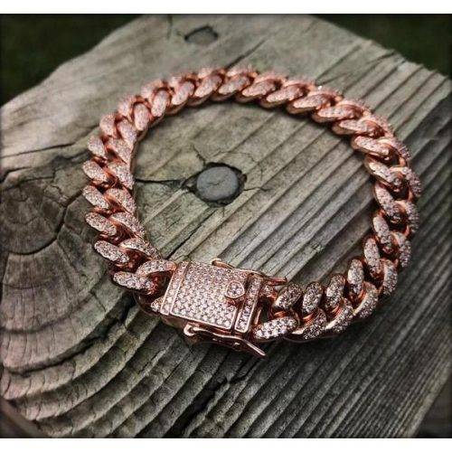 12mm Iced Cuban Link Bracelet in Rose Gold 9