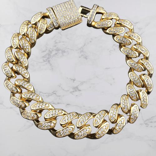 12mm Iced Cuban Bracelet in 18K Yellow Gold 4
