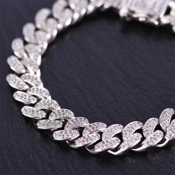 15mm White Gold Iced Cuban Bracelet 2