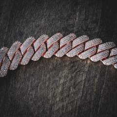 Diamond Prong Cuban Chain in Rose Gold (19mm) 5