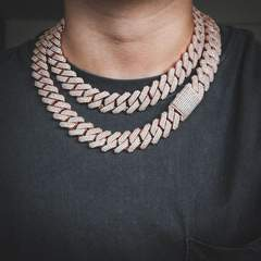 Diamond Prong Cuban Chain in Rose Gold (19mm) 1