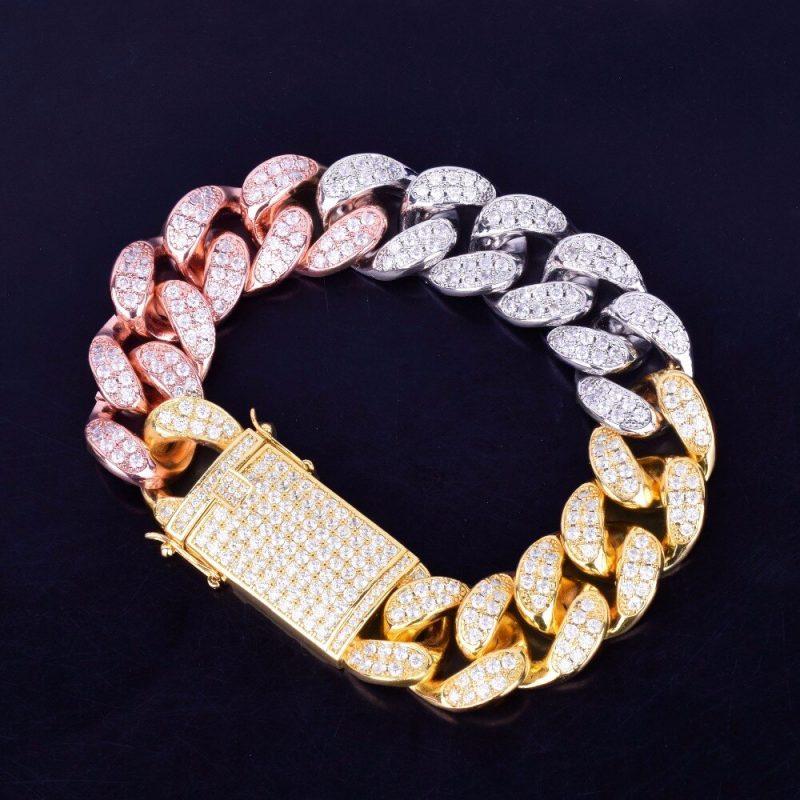 19mm tri colored iced cuban link bracelet