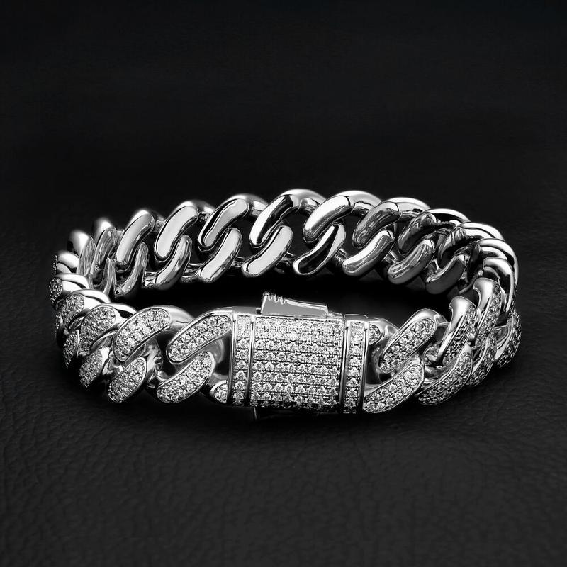 12mm Iced Cuban Bracelet in White Gold 1