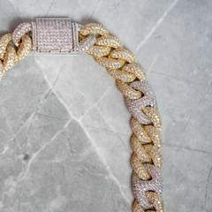 2 Tone Gucci Cuban Diamond Chain 15mm (18k Gold-White Gold) 6
