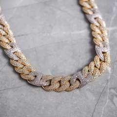 2 Tone Gucci Cuban Diamond Chain 15mm (18k Gold-White Gold) 5