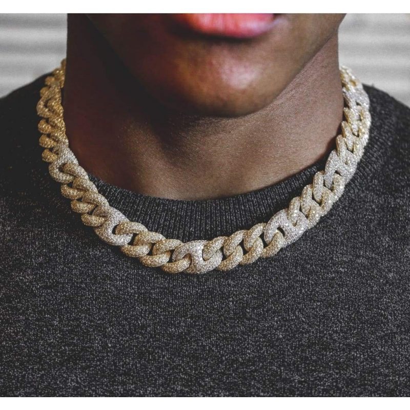2 Tone Gucci Cuban Diamond Chain 15mm (18k Gold-White Gold) 1