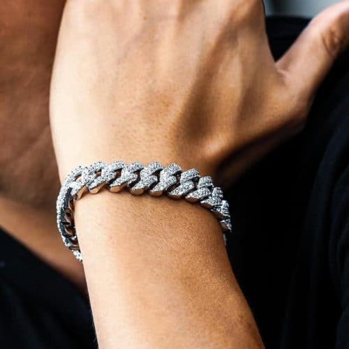 15mm White Gold Iced Cuban Bracelet 6