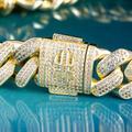 12mm Iced Cuban Bracelet in 14K Yellow Gold 5