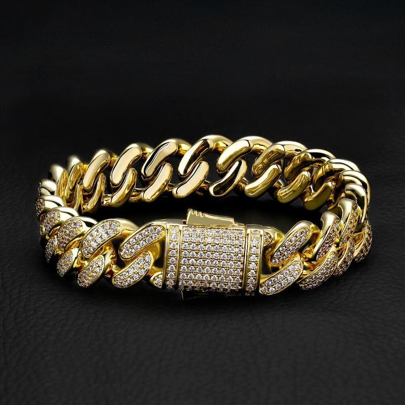 12mm Iced Cuban Bracelet in 14K Yellow Gold 1