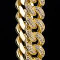 12mm Iced Cuban Bracelet in 14K Yellow Gold 2