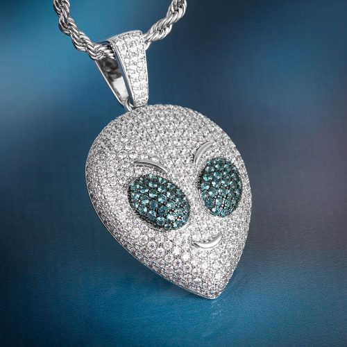 Iced Alien Emoji Pendant in White Gold 9