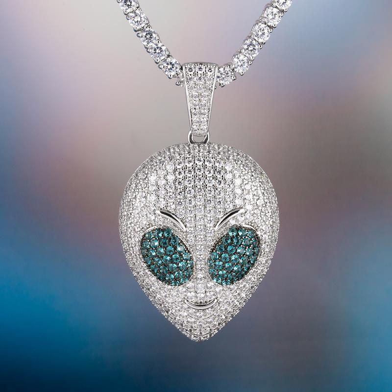 Iced Alien Emoji Pendant in White Gold 4