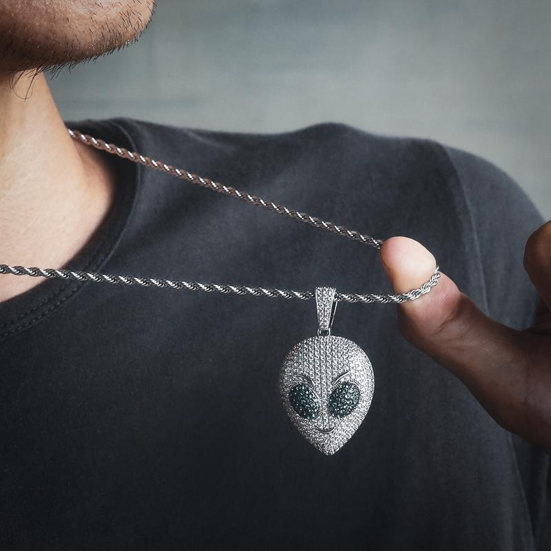 Iced Alien Emoji Pendant in White Gold 5