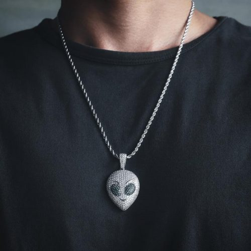 Iced Alien Emoji Pendant in White Gold 13