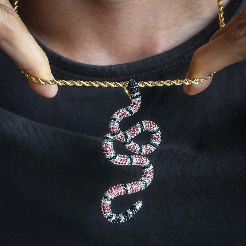 14K Gold Iced Twisted Snake Pendant 9