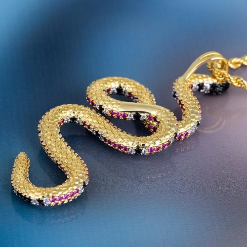 14K Gold Iced Twisted Snake Pendant 21