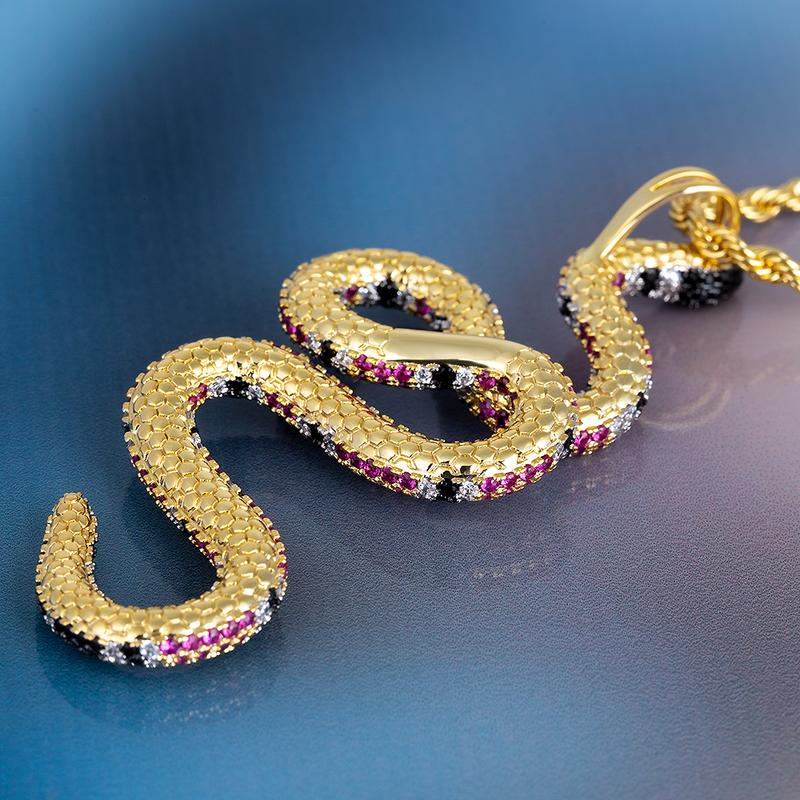 14K Gold Iced Twisted Snake Pendant 8