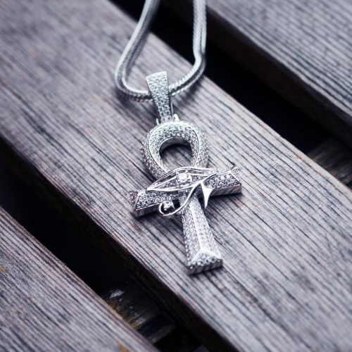 Ankh Cross with The Eye Of Horus Pendant in White Gold 7