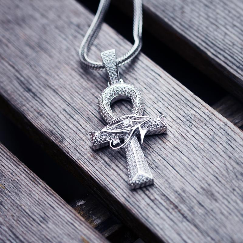 Ankh Cross with The Eye Of Horus Pendant in White Gold 2