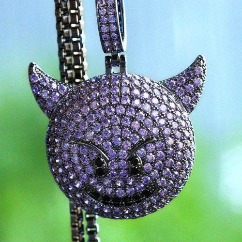 Black Gold Devil Emoji Pendant [MADE TO ORDER] 11
