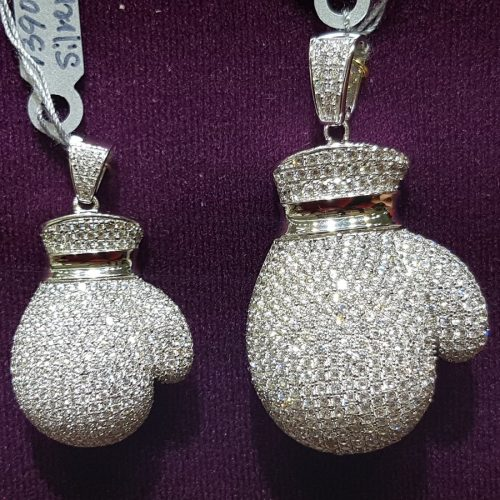 Iced Boxing Glove Pendant in White Gold 3