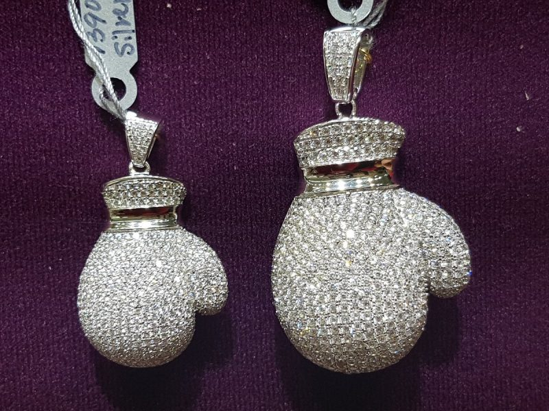Iced Boxing Glove Pendant in White Gold 2