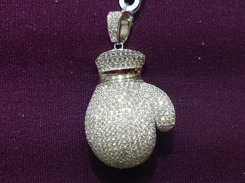 Iced Boxing Glove Pendant in White Gold 1